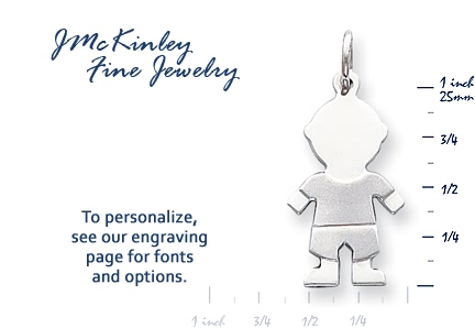 14k white gold paperdoll boy charms Shirt is engravable with a short name