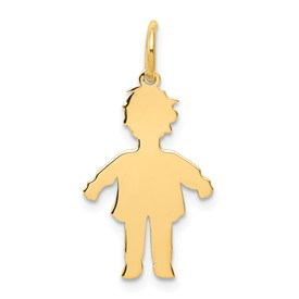 14k gold boy charms. Shows the silouhette or body cutout.