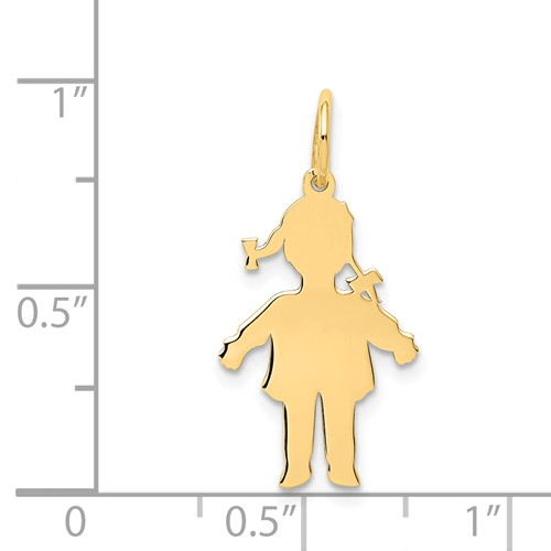 14k gold girl charms with ponytails charms Shows the silouhette or body cutout