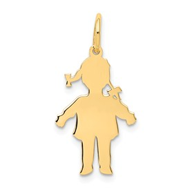 14k gold girl charms with ponytails. charms. Shows the silouhette or body cutout.