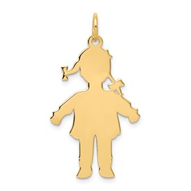 14k gold large girl charms with ponytails. charms. Shows the silouhette or body cutout.