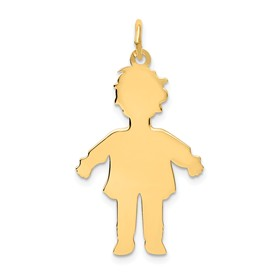 14k gold large boy charms. Shows the silouhette or body cutout.