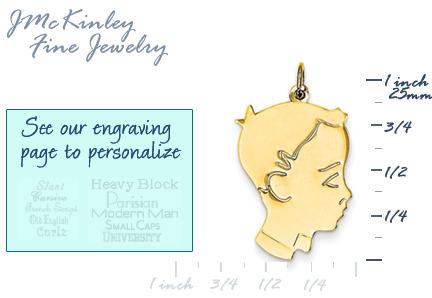 14k gold boy head charms with detail
