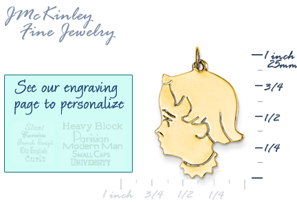 14k gold girl head charms with detail