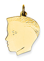 14k gold boy head charms with detail.
