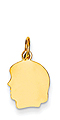 14k gold girl head charm