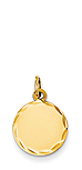 14k gold round charm with diamond cut detail
