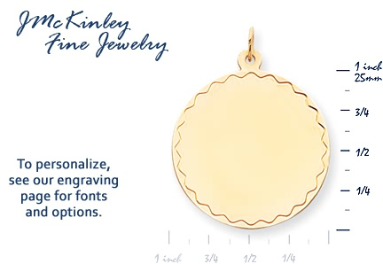 14k gold round charm with scallop detail