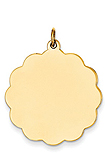 14k gold round charm with scalloped edge MEDIUM THICKNESS