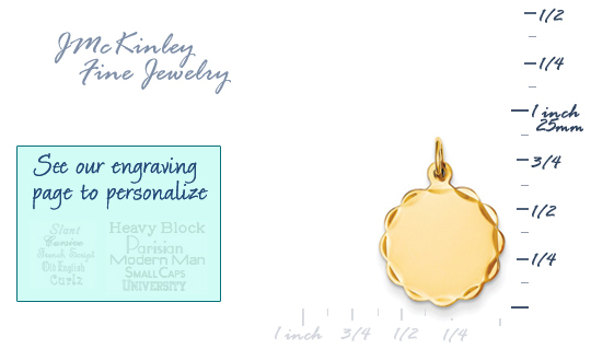 14k gold round charm with diamond cut scalloped edge