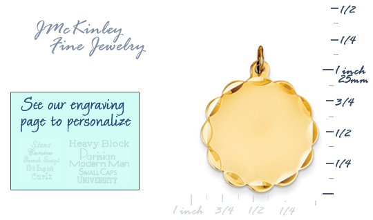 14k gold round charm with scalloped edge