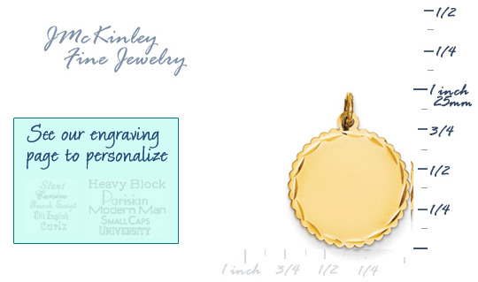 14k gold round charm with tiny scalloped edge and dc detail