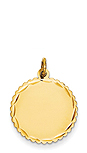 14k gold round charm with tiny scalloped edge and d/c detail