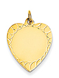 14k gold heart charms decorative edge MEDIUM THICKNESS gold heart to engrave