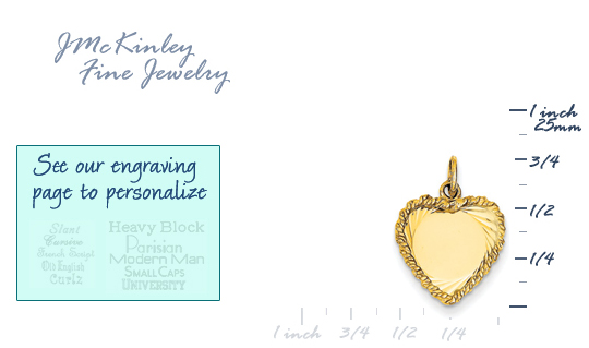 14k gold heart charms decorative ROPE edge MEDIUM THICKNESS gold heart to engrave