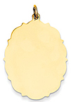 14k gold oval charms with beautiful fancy edge MEDIUM THICKNESS