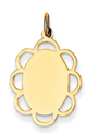 14k gold oval with scalloped edge MEDIUM THICKNESS gold oval to engrave