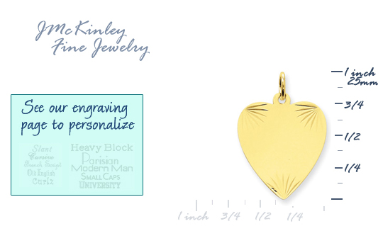 14k gold heart charms MEDIUM THICKNESS gold heart to engrave