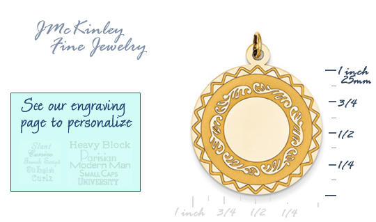 14k gold circle charms with edge detail