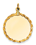 14k gold circle charms with rope edge detail