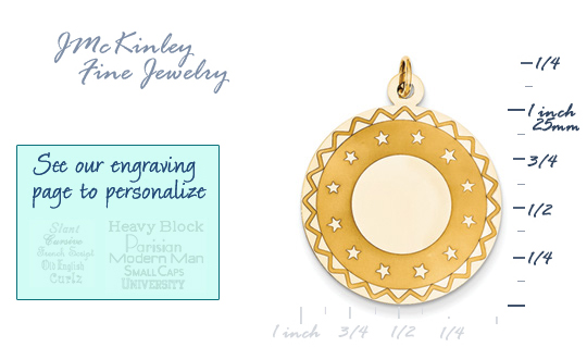14k gold circle charms with star edge detail