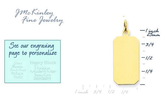 14k gold rectangle charms with angled corners