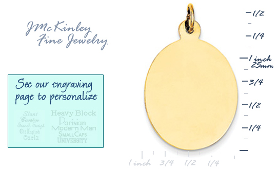 14k gold oval charms to engrave