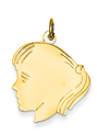 14k gold girl head charms with detail and pony tail.