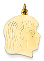 14k gold Large girl head charm