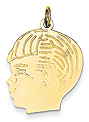 14k gold Large boy head charm