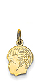 14k gold boy head charm with detail