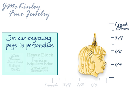 14k gold girl head charm with detail