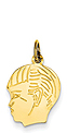 14k gold boy head charm with detail.
