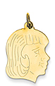 14k gold girl head charm with detail.