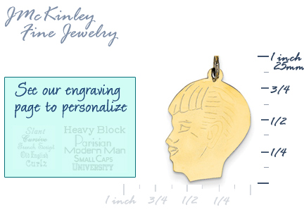 14k gold boy head charm with detail Facing left
