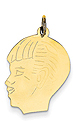 14k gold boy head charm with detail. Facing left.