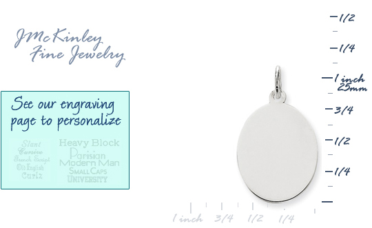 14k white gold oval charms to engrave