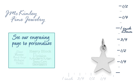 14k white gold star charms
