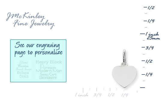 14k white gold small heart charms to engrave
