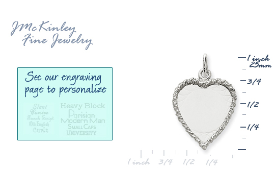 14k white gold heart charms to engrave with rope edge detail