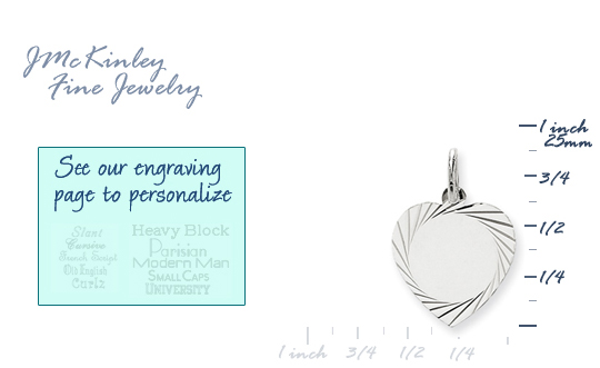14k white gold heart charms to engrave with edge detail