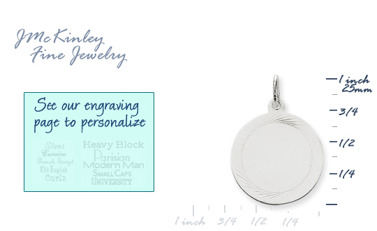 14k white gold circle charms round charms with edge detail to engrave