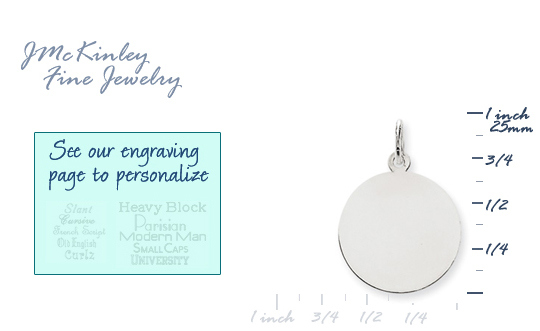 14k white gold circle charms to engrave