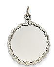 14k white gold circle charms to engrave with rope edge detail