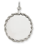 14k white gold circle charms to engrave with rope edge detail.