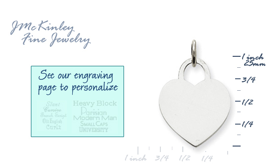 14k white gold heart charms to engrave