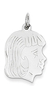 14k white gold girl head charm
