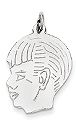 14k white gold boy head charm facing left and showing face detail THIN We engrave block