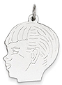 14k white gold boy head charm