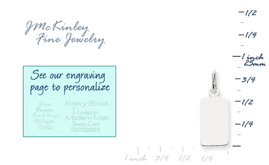 14k white gold rectangle charms to engrave